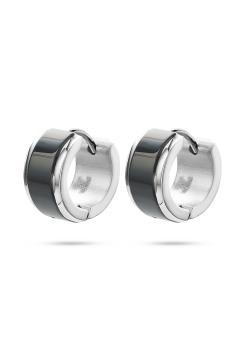 stainless steel hoop earrings, black