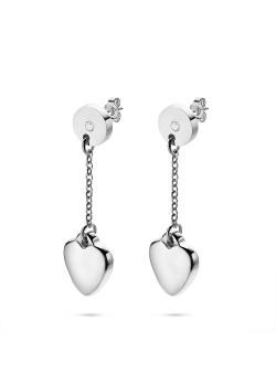 Oorbellen in edelstaal, rondje met kristal, hart op forcat ketting