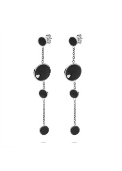 Stainless steel earrings, 4 black rounds, one with heart