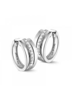 silver hoop earrings, zirconia