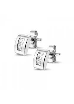 Silver earrings  with a square zircon