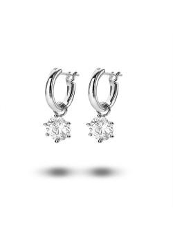 silver hoop earrings, hanging ziconia