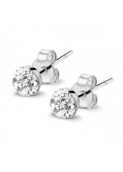 Silver earrings, 4 mm ball with white crystals