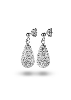 Oorbellen in zilver, druppel vol witte kristallen