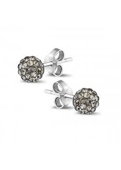 Oorbellen in zilver met een grijze kristallen bol van 6mm