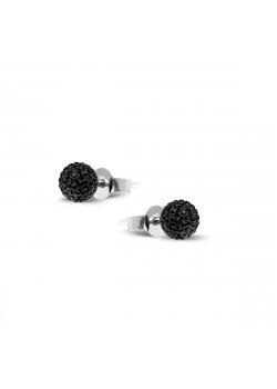 Oorbellen in zilver, zwarte kristallen bol van 6 mm