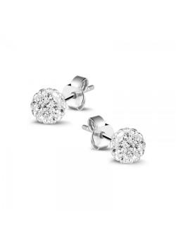 Oorbellen in zilver, bol van 6 mm met witte kristallen
