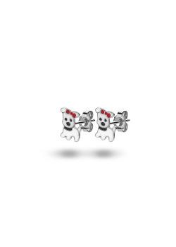 Silver earrings, small dog