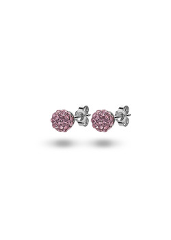 Silver earrings, 6 mm ball with pink crystals