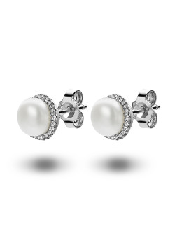 silver earrings, pearl and zirconia