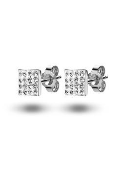 Boucles d'oreilles en argent, carré incrusté de cristaux, 7mm