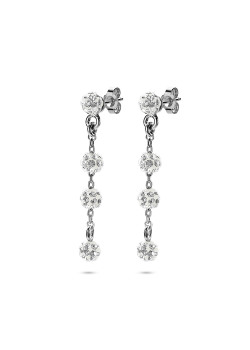 silver earrings, 4 balls, crystals