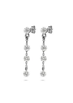 oorbellen in zilver, 4 bolletjes, kristallen
