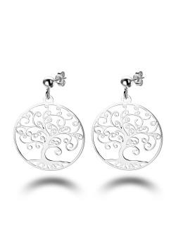 oorbellen in zilver, levensboom motief