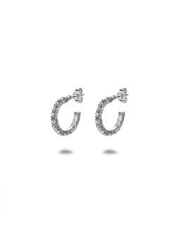 Oorbellen in zilver, oorring met kristallen, 15 mm