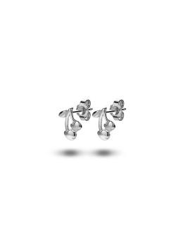 silver earrings, cherries