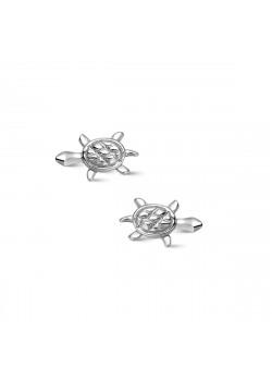 Silver earrings, small turtle