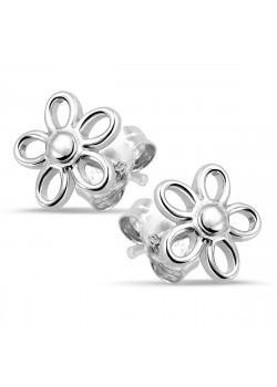 Oorbellen in zilver, bloemetje
