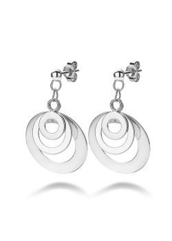 silver earrings, 3 open rounds
