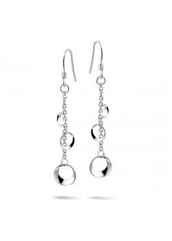 Oorbellen in zilver met cirkeltjes aan een  ketting