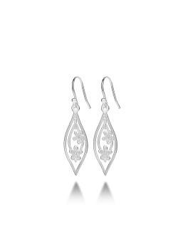 Silver earrings, flower pendant