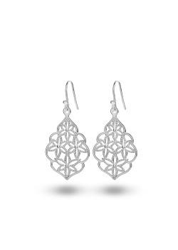 oorbellen in zilver, bloem met filigraan