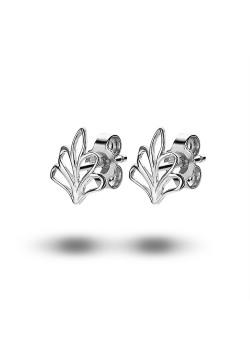 silver earrings, small open leaf