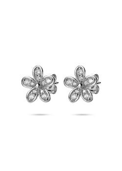 oorbellen in zilver, bloem, zirkonia