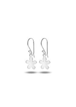 Oorbellen in zilver met een hangende bloem