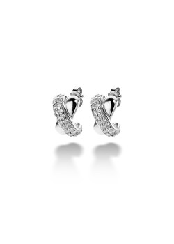 oorbellen in zilver, gekruist motief, zirkonia