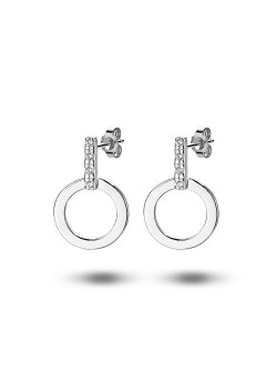 oorbellen in zilver, cirkel en zirkonia