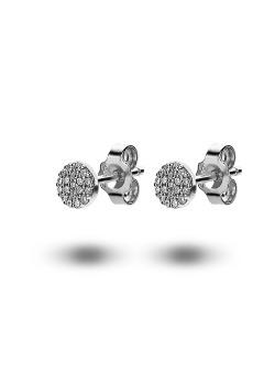 oorbellen in zilver, rondje met zirkonia