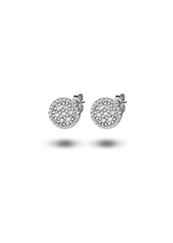 silver earrings, round with zirconia