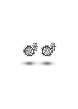 silver earrings, small round, black and zirconia