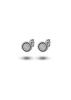 Boucles d'oreilles en argent, pastille de 8mm, cercle noir et zircons