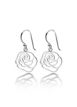 oorbellen in zilver, open bloem