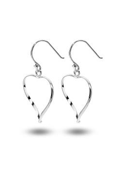 oorbellen in zilver, open hart