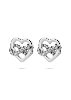 silver earrings, heart and infinity with zirconia