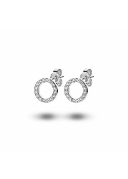 silver earrings, 10 mm circle, zirconia