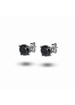 silver earrings, 7 mm black zirconia