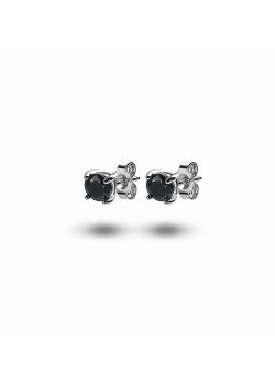 silver earrings, 5 mm black zirconia