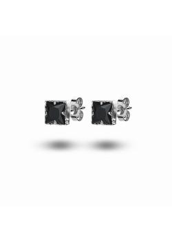 oorbellen in zilver, vierkant zwart zirkonia, 7 mm