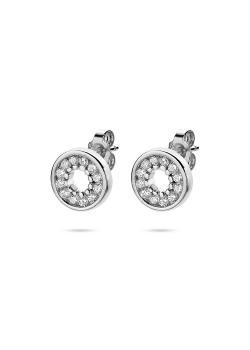 silver earrings, circle, zirconia