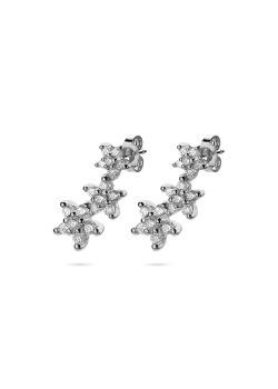 oorbellen in zilver, 3 bloemen, zirkonia