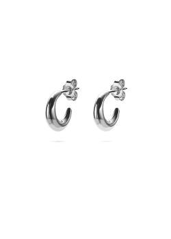 Silver earrings, hoop earring, moon shaped