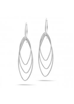 oorbellen in zilver, 3 gebeitelde ellipsen