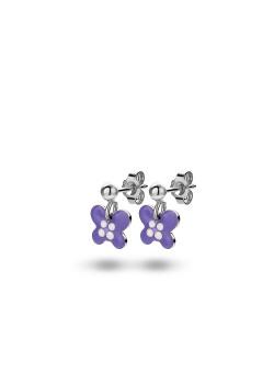 Oorbellen in zilver, paarse vlinder