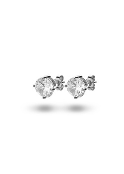 Silver earrings, an 8 mm zirconia