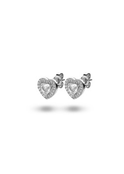 Silver earrings, heart with zirconia