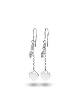 Oorbellen in zilver met een hangend hartje en witte kristallen